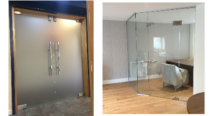 10mm Satinised Glass double doors with satin steel top locks, handle and hinges.
