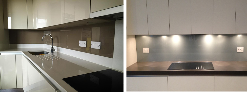 Brown Beige Glass Splashback / Steel Grey Glass Splashback
